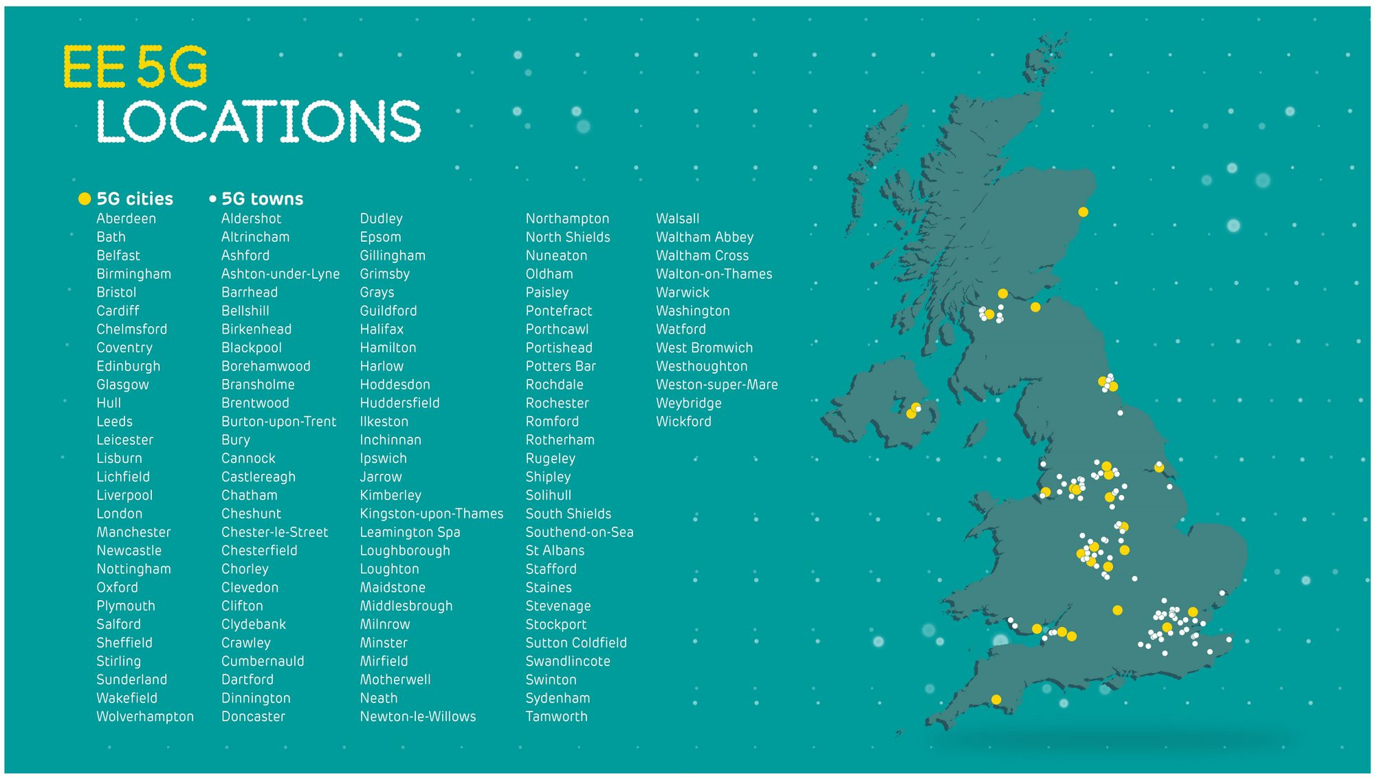 Map showing EE 5G locations in the UK
